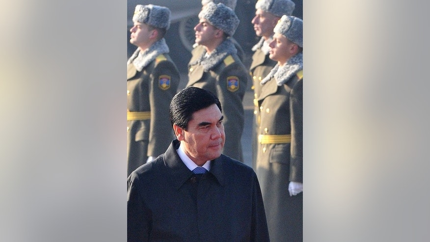 "Turkmenistan's president Gurbanguly Berdymukhamedov attends a ceremony in Yerevan, on November 29, 2012. US pop diva Jennifer Lopez will be performing along with stars from Ukraine, Russia, and Turkey for Berdymukhamedov's 56th birthday bash at the glitzy resort in Avaza, which means ""land of singing waves""."