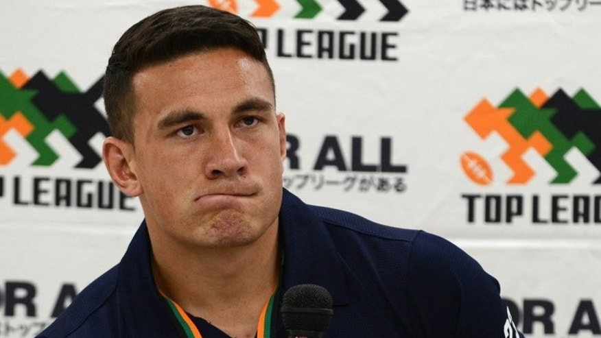 Sonny Bill Williams at a press conference in Tokyo on September 1, 2012. Williams was reported Sunday to be eyeing a switch to rival code rugby union, attracted by the lure of Olympic gold.