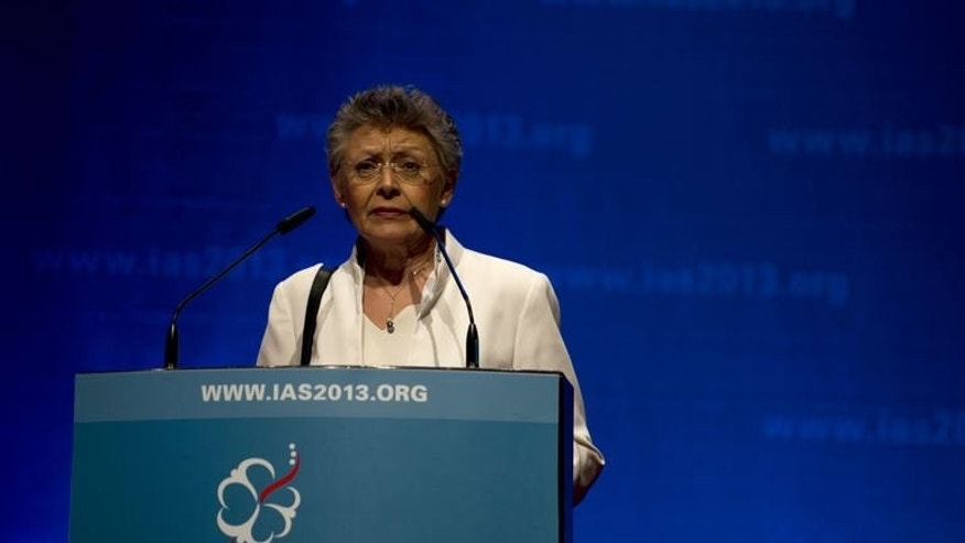 President of the International AIDS Society (IAS), Francoise Barre-Sinoussi speaks during the official opening of the 7th IAS Conference on HIV Pathogenesis, Treatment and Prevention in Kuala Lumpur on June 30, 2013. AIDS experts on Sunday called for a more open debate on the global pandemic in Asia, where they say discrimination still fuels the spread of HIV.