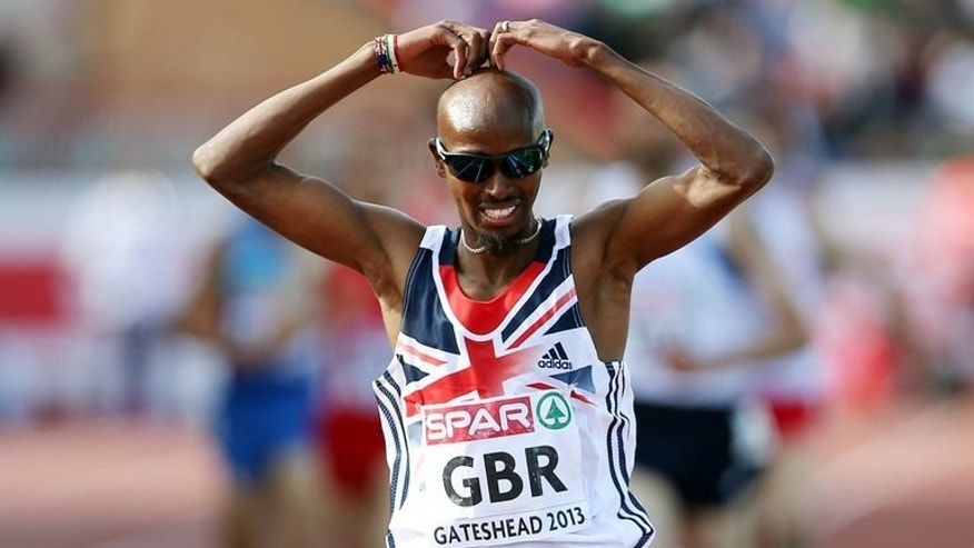 Britain's Mo Farah wins the men's 5,000m at Gateshead Stadium in Newcastle on June 22, 2013. Farah proved he was still the man to beat heading into the World Championships with a 5,000 metres win over a high-class field at the Birmingham Diamond League meeting in central England on Sunday.