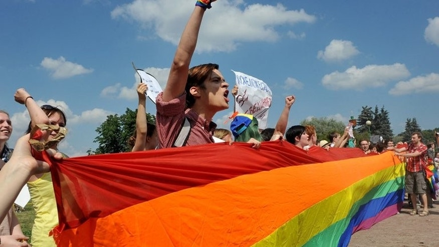 Gay rights activists take part in a gay pride event in Saint Petersburg on Saturday. Organisations face fines of up to one million rubles and a shutdown of their activity for 90 days for breaches of Russia's 'gay propaganda' ban.