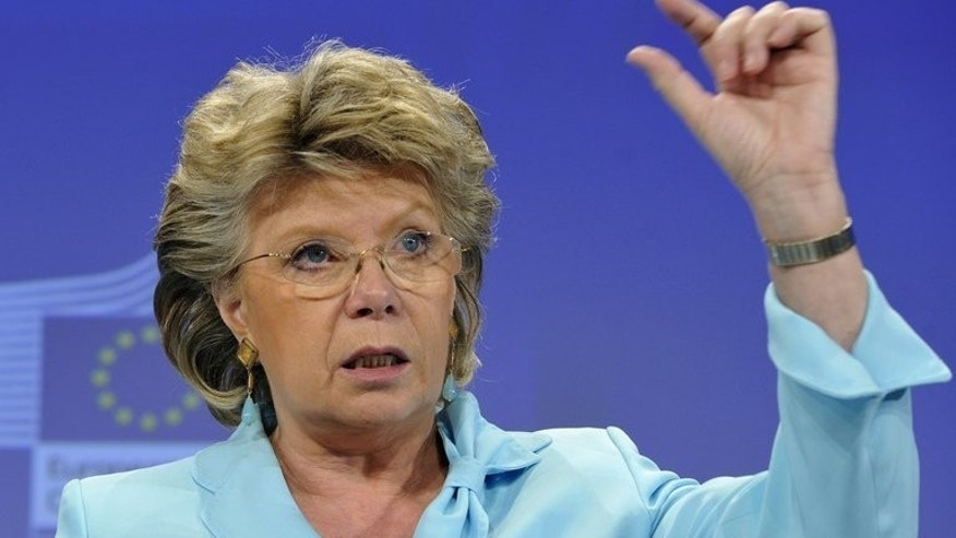 EU Justice Commissioner Viviane Reding gives a press conference on June 26, 2013 in Brussels. Reding has warned landmark negotiations with the United States to create a vast free trade zone could be affected if media reports that Washington had bugged EU premises proved true.