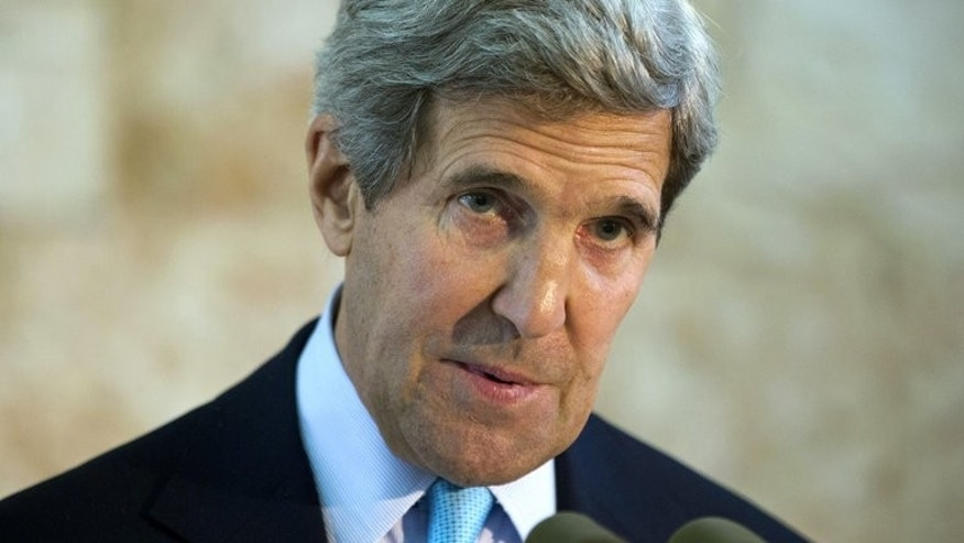 US Secretary of State John Kerry speaks about his trip to the Middle East during a press conference in Tel Aviv, on June 30, 2013. Kerry flew from tough Middle East peace talks into international meetings in Asia on Monday devoted to a full plate of sensitive issues including North Korea's nuclear programme and fugitive leaker Edward Snowden.