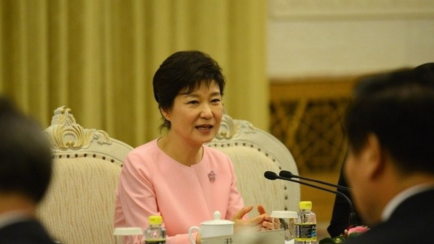 South Korea's President Park Geun-Hye, pictured at the Great Hall of the People in Beijing, on June 28, 2013. In China, Park called for the North's denuclearisation and described Pyongyang's policy of pushing forward economic construction together with its nuclear build-up as an unattainable goal.