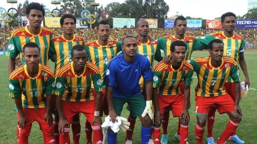Ethiopia's national football team pictured before the 2014 FIFA World Cup qualifying match against South Africa in Addis Ababa on on June 16, 2013. South Africa returned Monday to the race for places at the 2014 World Cup after Ethiopia forfeited three points for fielding an ineligible player.