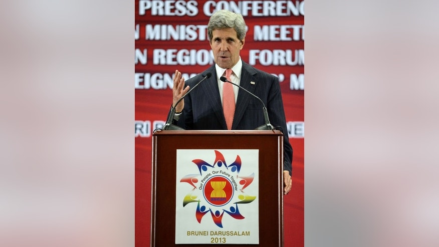 US Secretary of State John Kerry speaks during a press conference at the ASEAN ministerial meeting in Bandar Seri Begawan, Brunei, on July 1, 2013.