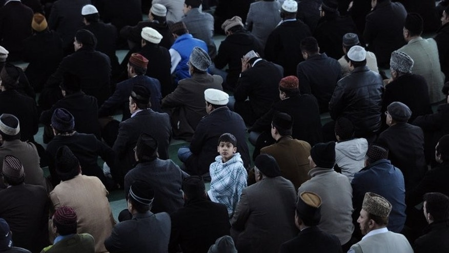 Muslims gather for Friday prayers in south London, on February 18, 2011. A mainstream British TV channel said it would broadcast the Muslim call to prayer throughout the fasting month of Ramadan.