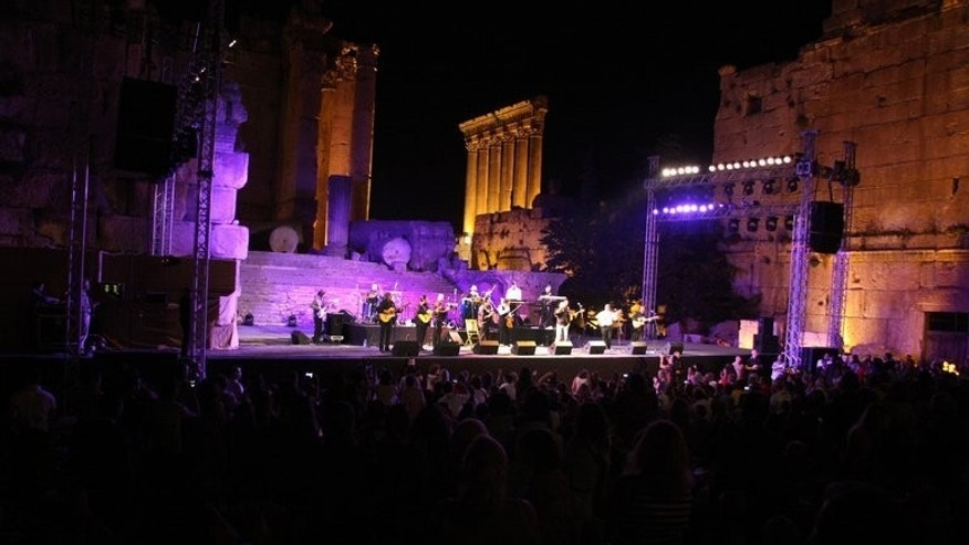 The Gipsy Kings performs during the Baalbek International Festival in the Bekaa valley, on June 29, 2012. Lebanon's renowned Baalbek International Festival -- normally held in the town's spectacular Roman ruins -- will move to a venue near Beirut amid security fears linked to the Syrian conflict, organisers have said.
