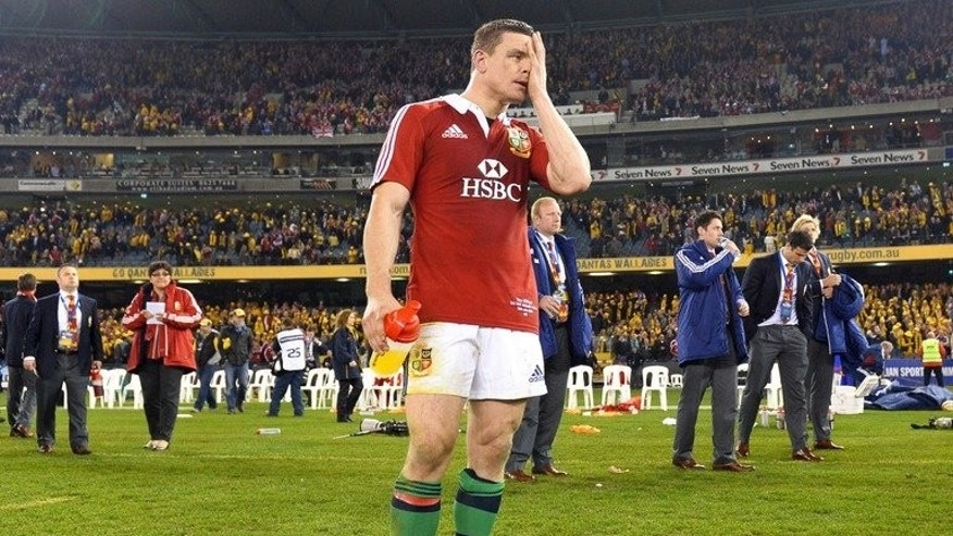 British and Irish Lions veteran Brian O'Driscoll reacts after defeat in the second Test on June 29, 2013. There will be no fairytale ending to his Lions career after the Irish legend was ruthlessly axed from the deciding third Test against the Wallabies in Sydney on Saturday.