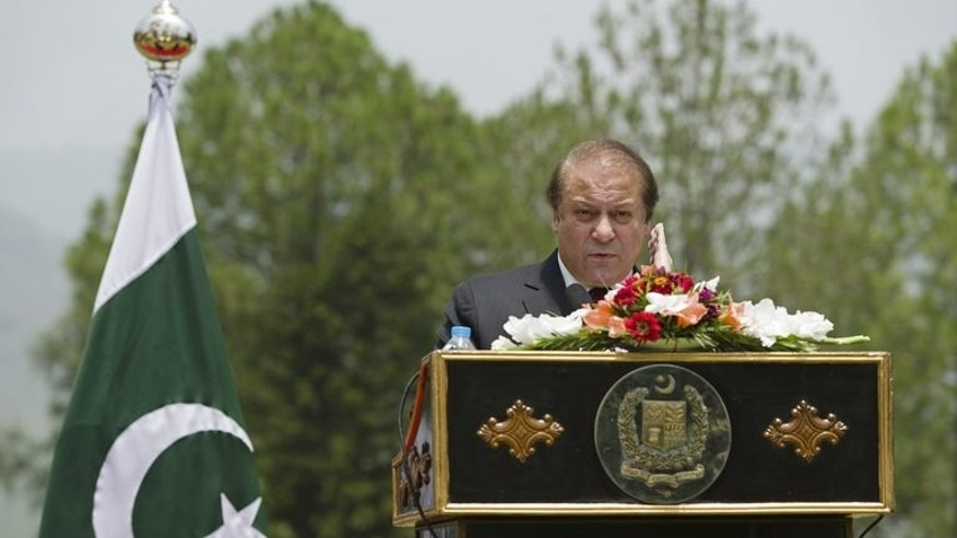 "Pakistan Prime Minister Nawaz Sharif during a press conference in Islamabad on June 30, 2013. Sharif has spoken of his government's ""firm resolve to promote the shared objective of a peaceful and stable Afghanistan""."