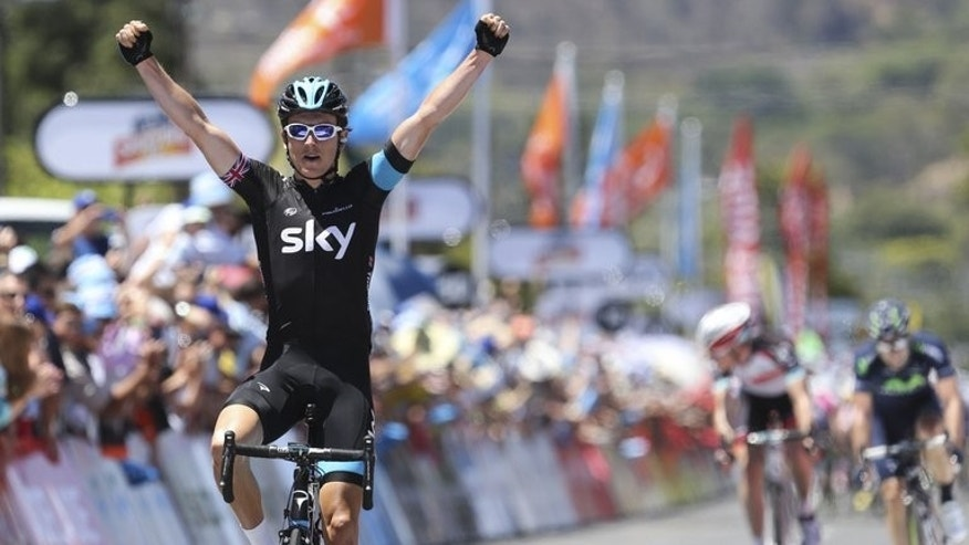 Team Sky rider Geraint Thomas celebrates after winning stage two of the Tour Down Under in Adelaide on January 23, 2013. He put the pelvis fracture suffered just 72 hours earlier behind him with a combative ride in the team time-trial in Corsica.