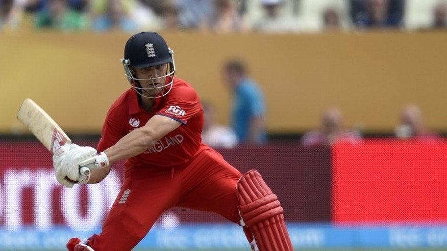 """England's batsman Jonathan Trott plays a shot at Edgbaston in Birmingham on June 8, 2013. Trott insisted the side had made the best out of a """"lose-lose"""" situation after their Ashes warm-up match against Essex was stripped of its first-class status on the third day of four."""