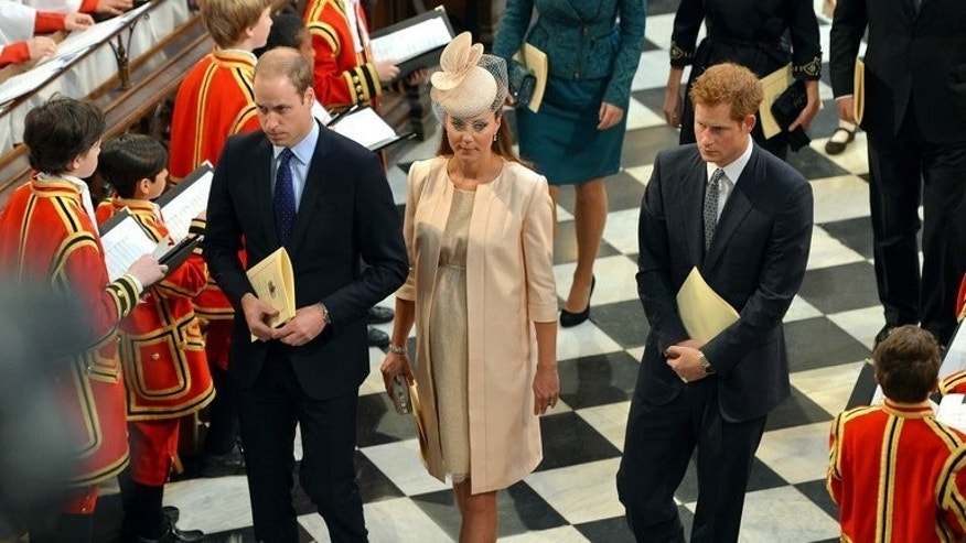 "Prince William, (L) his wife Catherine, Duchess of Cambridge, (C) and William's brother Prince Harry, (R) leave Westminster Abbey in London, on June 4, 2013. There is a right royal choice of odds ranging from the future monarch's sex, weight and hair colour to even whether Kate will be ""too posh to push"" and have a caesarean."