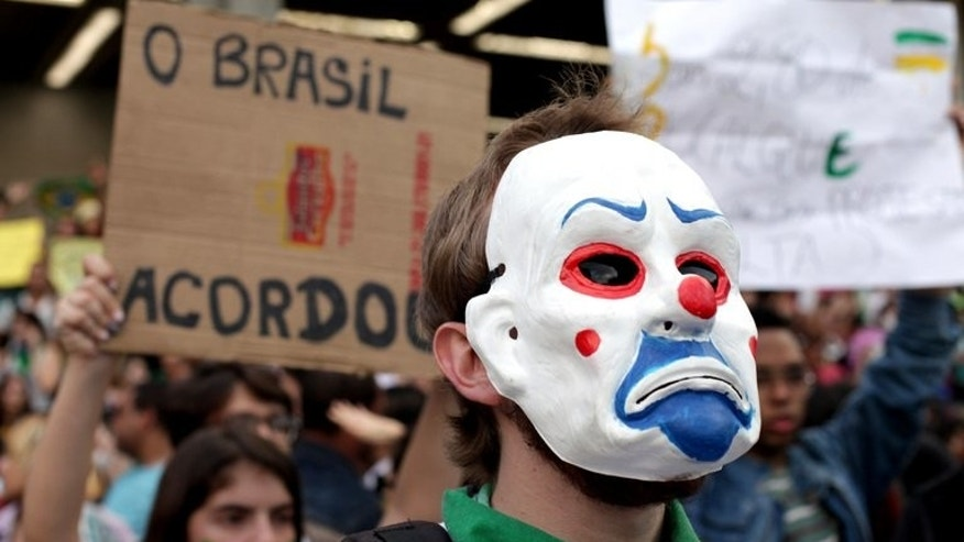 Hundreds of people take part in a demonstration against the $15 billion being spent on the Confederations Cup and the 2014 World Cup, on June 19, 2013, in Belo Horizonte, Brazil. Brazil's Congress has received a request from President Dilma Rousseff to hold a referendum on political reform in response to the worst social unrest in 20 years.