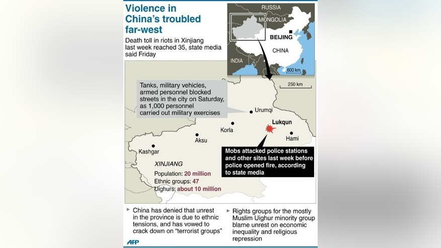 Graphic showing China's Xinjiang province where 35 people were killed in violence near a police station last week.