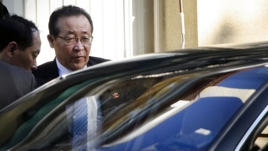 North Korea's first vice foreign minister Kim Kye-Gwan leaves the North Korean embassy in Geneva on October 24, 2011. He was due in Moscow for a series of meetings aimed at reviving the stalled six-party process after months of tensions.