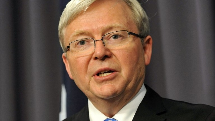 Australia's newly reinstated Prime Minister Kevin Rudd talks to the media in Canberra on June 26, 2013. Rudd will hold talks with Indonesia's president Friday, with the politically sensitive subject of asylum-seekers set to top the agenda.
