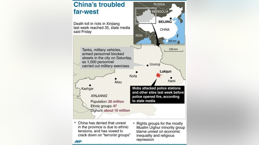 Graphic on violence in China's northwestern Xinjiang region last week that left 35 people dead.