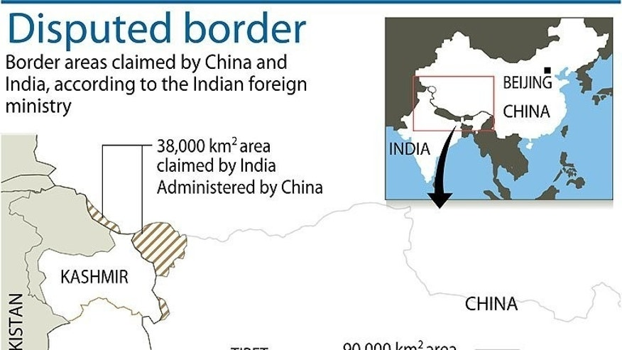 Graphic showing disputed border regions between China and India