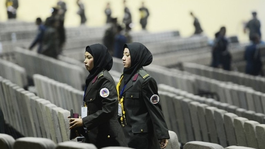 Female Afghan soldiers at the National Miltary Academy in Kabul, on February 16, 2013. Gunmen have shot dead one of the most high-profile female police officers in Afghanistan, underlining the threat to women who take on public roles in the country.