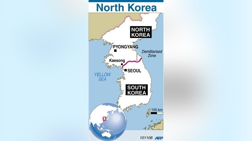 Map of North Korea locating the joint industrial complex in Kaesong.