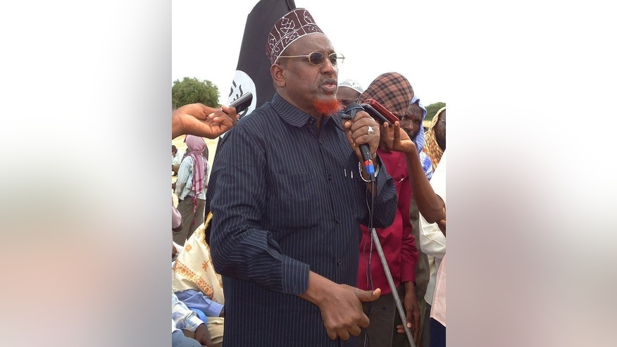 Shebab leader Hassan Dahir Aweys addresses a demonstration on the outskirts of Mogadishu, on October, 27, 2011. or the past year, many celebrated that Somalia's Shebab fighters were on the back foot -- but analysts warn the extremist group is far from defeated.