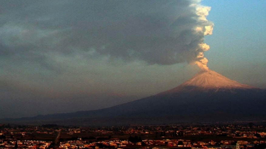 April 19, 2012: Ash and smoke from Popocatepetl volcano, about 40 miles from the Mexico City airport.