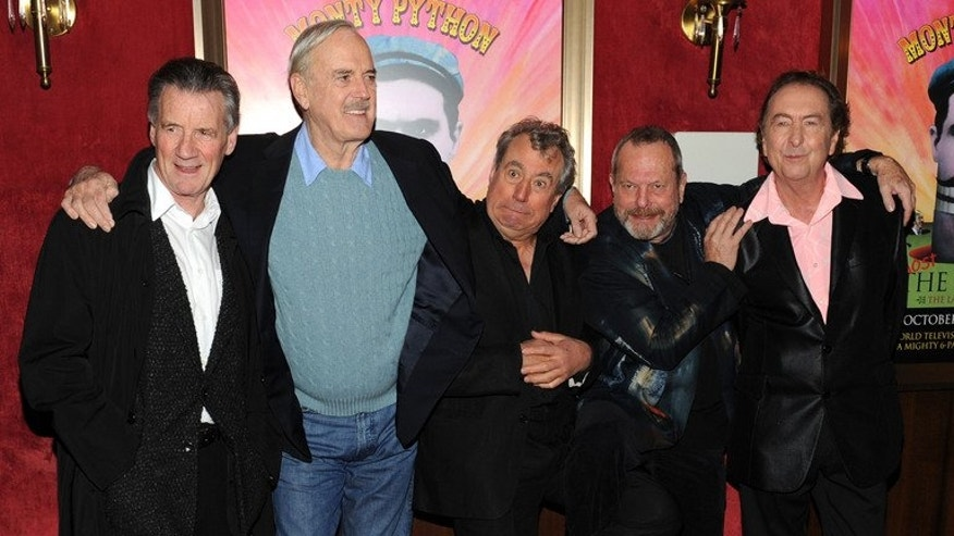 "(From left) Actors Michael Palin, John Cleese, Terry Jones, Terry Gilliam and Eric Idle attend the IFC & BAFTA Monty Python 40th Anniversary event in New York City on October 15, 2009. The producer of the cult film ""Monty Python and the Holy Grail"" won his battle in Britain's High Court to boost his share of the profits from the hit spin-off musical, ""Spamalot""."