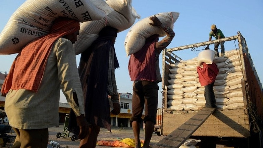 "Labourers load 50kg sacks of wheat into a truck at a grain distribution point in Amritsar in May. Indian President Pranab Mukherjee gave his assent on Friday to a landmark food welfare programme targeting the ""poorest of the poor"", the government announced."