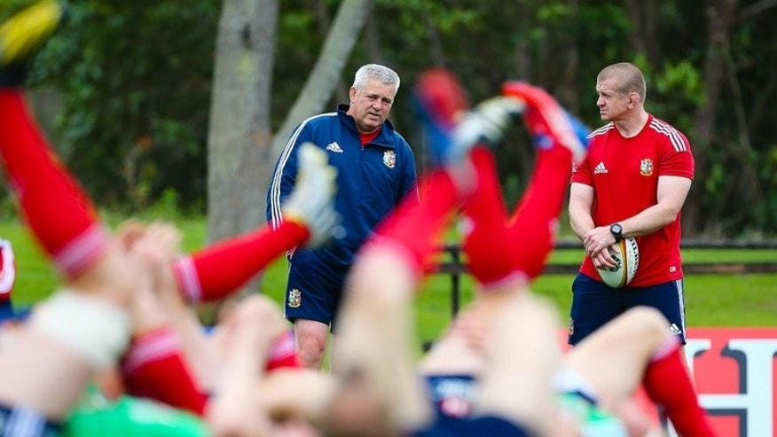British and Irish Lions coach Warren Gatland (L) and assistant coach Graham Rowntree attend a training session in Noosa, Queensland, on July 3, 2013. The Lions will play the Australian Wallabies in the deciding Test on July 6.