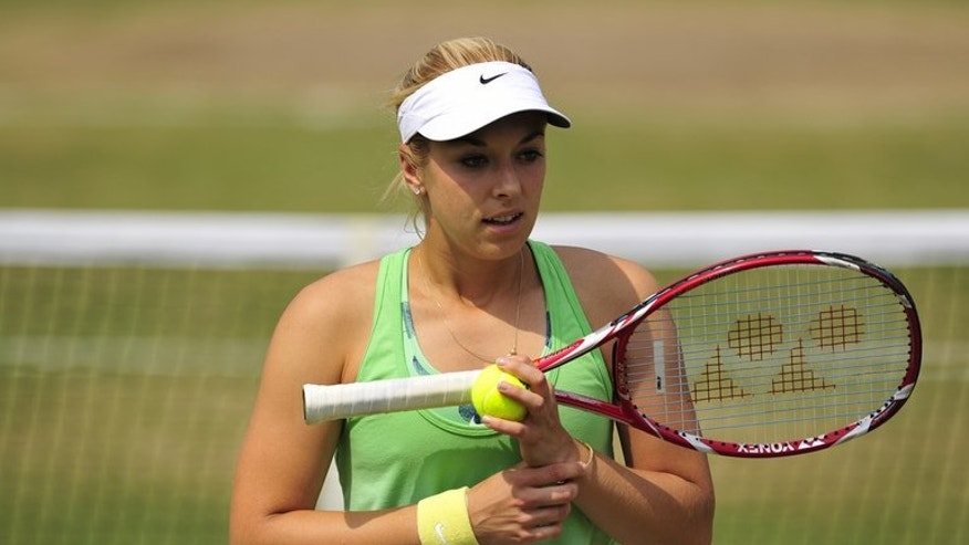 Germany's Sabine Lisicki, pictured during a training session on day eleven of the Wimbledon Championships, at the All England Club, southwest London, on July 5, 2013, on the eve of her women's singles final against Marion Bartoli.