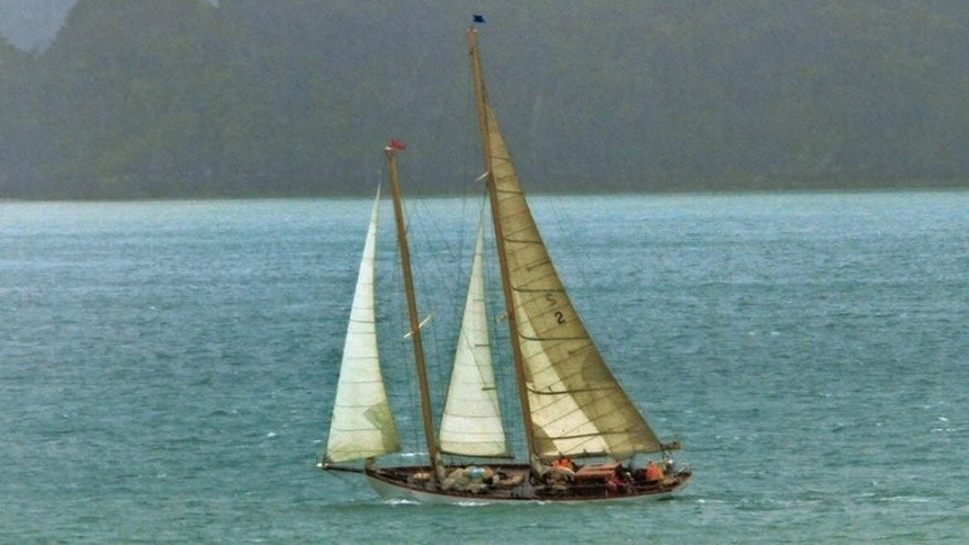 The 21-metre (70-foot) vintage wooden yacht Nina, built in 1928, is shown in Northland, New Zealand in January 2012. New Zealand rescuers were reviewing the search for the missing crew of a vintage US yacht on Friday, hours after a final message from the sailors caught in rough weather was released.
