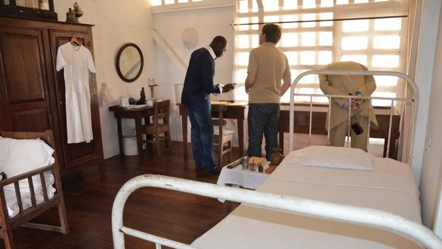 The room where doctor Albert Schweitzer (1885-1965) lived until his death, in a hospital in Lambarene, Gabon, on June 17, 2013. Today patients from all over Gabon are still being treated at the hospital he founded, a few metres (yards) away from the old corrugated structures where he practised for more than 50 years.