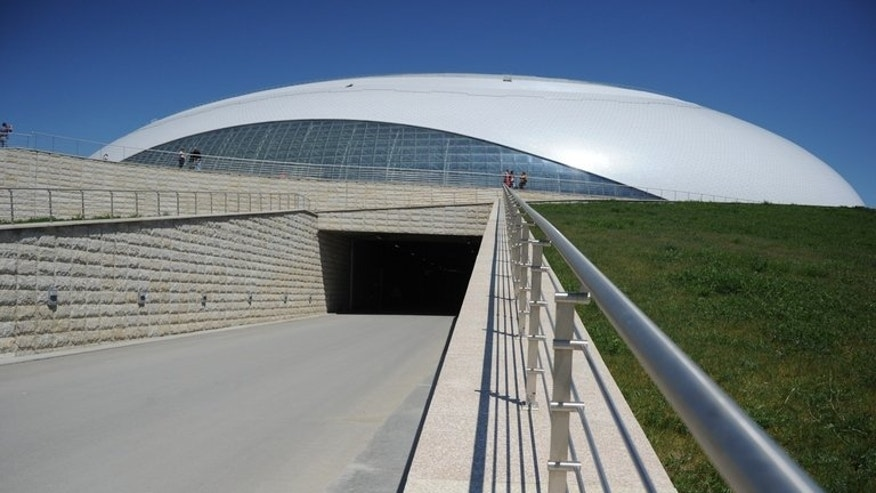 A view of the Bolshoi Ice Dome arena - ice hockey venue at the Olympic Park in Adler outside Sochi, during the IIHF U18 International Ice Hockey World Championship on April 28, 2013.