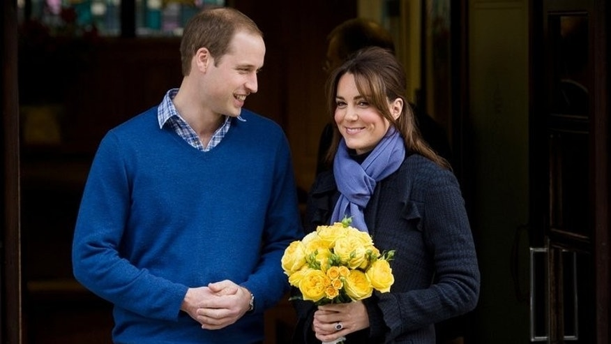 In this file picture taken on December 6, 2012 Prince William, the Duke of Cambridge (L) and his wife Catherine the Duchess of Cambridge are seen leaving the King Edward VII hospital in central London.