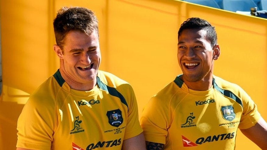 Australian Wallabies captain James Horwill (L) and winger Israel Folau come out for the Captain's Run training session ahead of their final Test match against the British and Irish Lions, in Sydney on July 5, 2013.