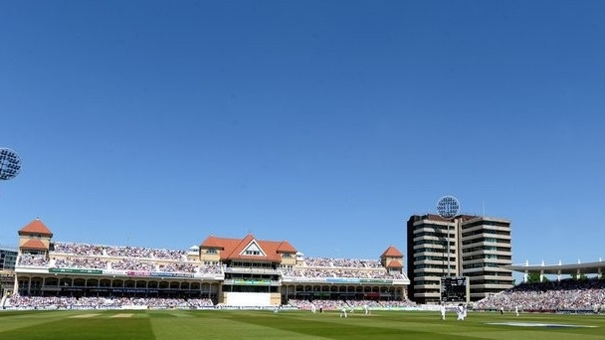 A view of the playing field at Trent Bridge in Nottingham, central England on May 25, 2012. A familiar sound associated with the England cricket team is set to be missing during next week's Ashes opener in Nottingham after 'Billy the Trumpet' was effectively banned from playing at Trent Bridge.