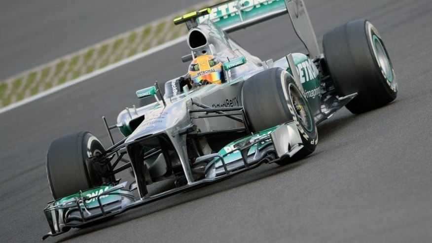 Lewis Hamilton in the third practice session at Nurburgring on Saturday. Hamilton clinched pole position for Sunday's German Prix by topping Saturday's final qualifying session.