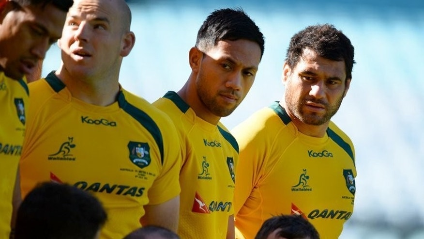 Australian Wallabies rugby players pose for a photo before the captain's run, on the eve of their final Test match against the British and Irish Lions, in Sydney, on July 5, 2013.
