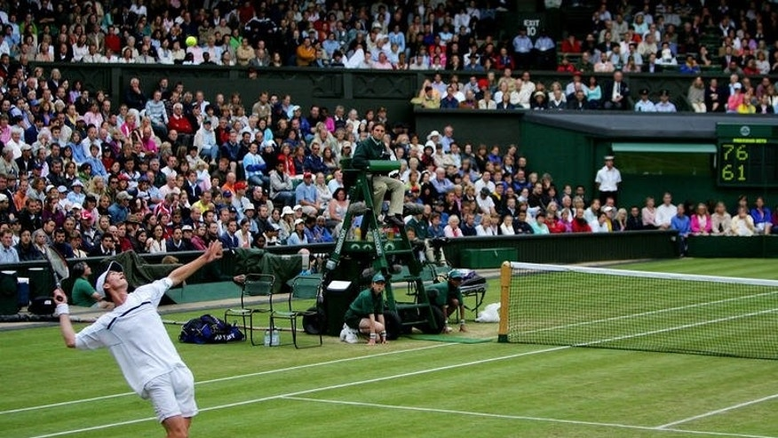 Andy Murray serves to David Nalbandian at Wimbledon in June 2005. A scrawny, pasty-faced Andy Murray first made a Grand Slam impact when he was just 18 and on debut at Wimbledon in 2005.