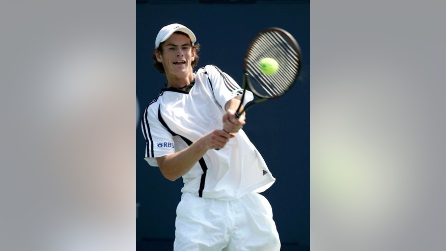 Andy Murray returns to Sergiy Stakhovsky in the US Open junior final in New York in September 2004.