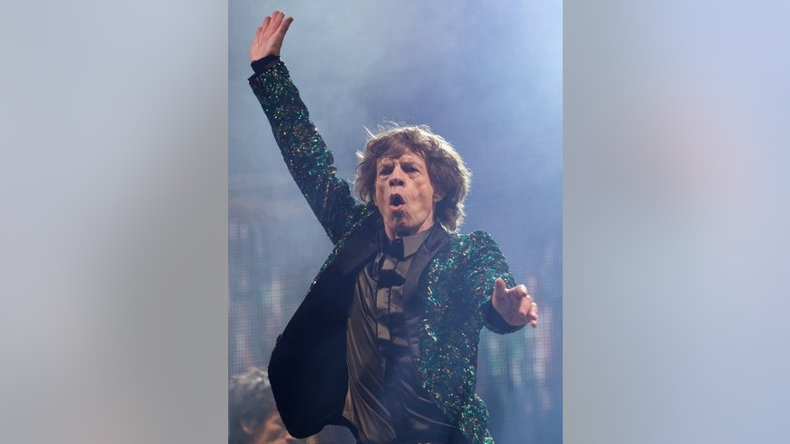 Mick Jagger during the Rolling Stones' concert at Glastonbury last weekend. Jagger claims the Stones will play the same set list at Hyde Park on Saturday as they did in a free concert there 44 years ago.