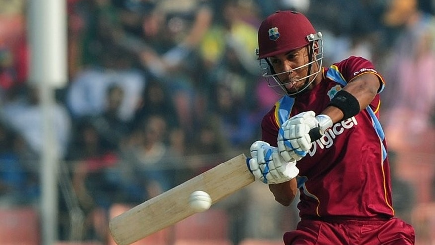 West Indies cricketer Lendl Simmons plays a shot in Khulna on November 30, 2012. Simmons has been summoned to replace suspended captain Dwayne Bravo in the West Indies squad to face Sri Lanka in the fifth match of the Tri-Nation Series at Queen's Park Oval on Sunday.