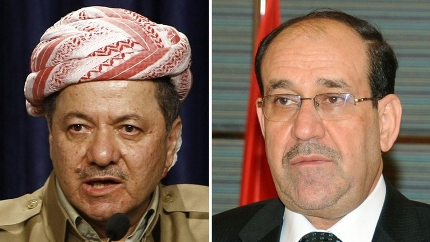 Iraqi Prime Minister Nuri al-Maliki (R), seen in Kuwait City on March 14, 2012 and Massud Barzani, president of the autonomous northern Kurdish region in Iraq, pictured in Arbil, on March 17, 2012. Barzani is visiting Baghdad for the first time in years for landmark talks with Maliki on an array of disputes.