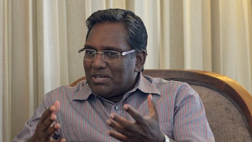 Maldivian President Mohamed Waheed speaks during an interview with AFP in Colombo on July 7, 2013. He pledged to work with the main Islamic party ahead of upcoming elections, and rejected opposition fears it would lead to increased radicalisation in the luxury tourist destination.