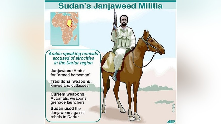 "Graphic fact file on the pro-Khartoum Janjaweed militia. Ali Kushayb, a former Janjaweed commander, was attacked on Sunday during battles which state officials blamed on ""differences"" between members of the security forces."