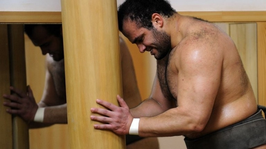 Egyptian sumo wrestler Osunaarashi pushes a log during a training session in Tokyo on February 14, 2013. The Arab world's first professional sumo wrestler says fasting for Ramadan will give him courage during his inaugural tournament in the famously weighty elite ranks of the sport.