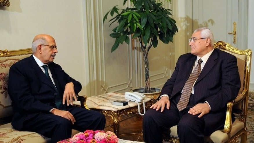 Picture released by the Egyptian Presidency shows interim president Adly Mansour (R) meeting opposition National Salvation Front leader Mohamed ElBaradei in Cairo on July 6, 2013. ElBaradei condemned the killing of at least 42 people outside an elite army headquarters in Cairo on Monday and called for an independent investigation.
