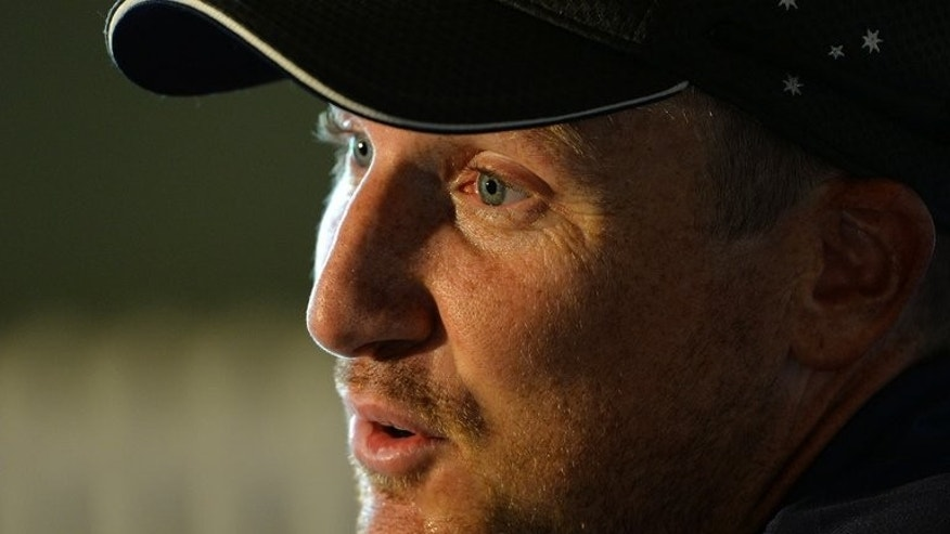 "Australia's Brad Haddin speaks during a press conference at Trent Bridge in Nottingham, central England on July 8, 2013, prior to the first Ashes cricket test match between England and Australia on July 10. Haddin said Monday the tourists are desperate to end their Ashes ""hurt"" when they face England in the latest edition of Test cricket's oldest rivalry."