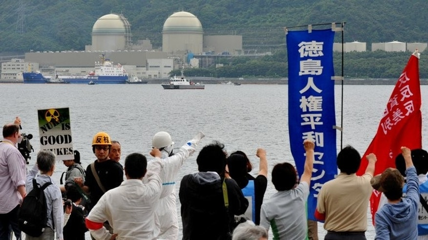 Protesters demonstrate against the arrival of a vessel loaded with reprocessed nuclear fuel for the Takahama nuclear plant, on June 27, 2013. Japanese utilities asked regulators for permission to turn on 10 nuclear reactors, a move that could presage a widespread restart of atomic power more than two years after the Fukushima disaster.